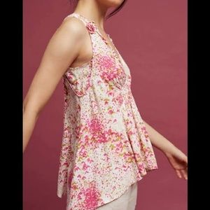 Anthropologie Maeve Bretta Floral Gathered Top